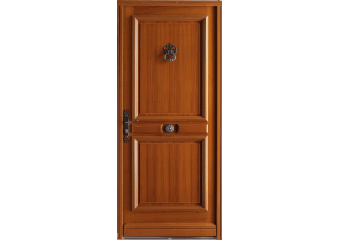 Porte d'entrée bois pleine avec moulures