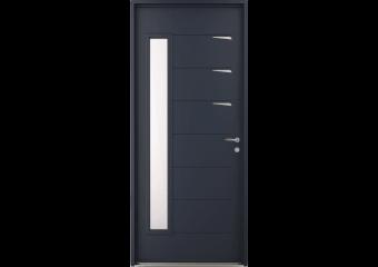 Porte d'entrée acier vitrée avec inserts inox