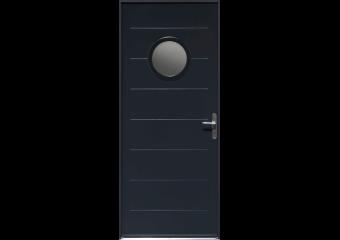Porte d'entrée acier avec hublot et rainures horizontales