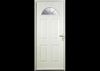 Porte d'entrée acier vitrée demi-lune haut