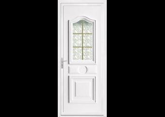Porte d'entrée PVC vitrée avec moulure