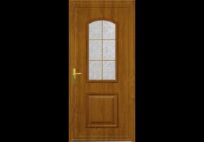 Porte d'entrée PVC chêne doré 1 carreau
