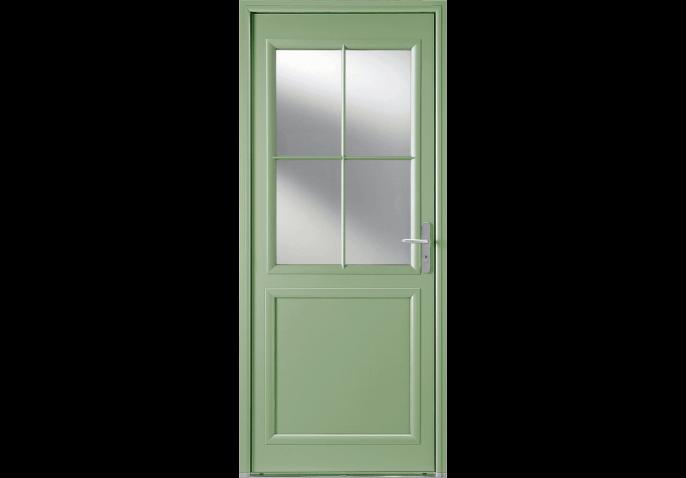Porte d'entrée alu mi-vitrée esprit campagne