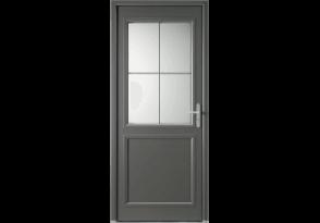 Porte d'entrée alu mi-vitrée 4 carreaux
