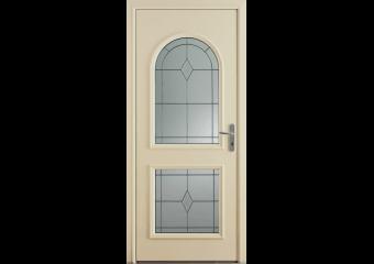Porte d'entrée alu avec vitraux traditionnels