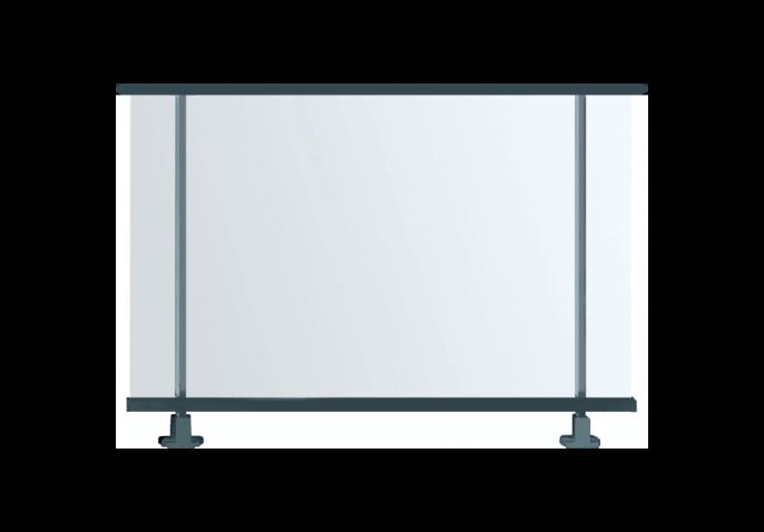 Garde-corps structure aluminium vitré plein