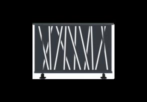 Garde-corps aluminium aux motifs linéaires