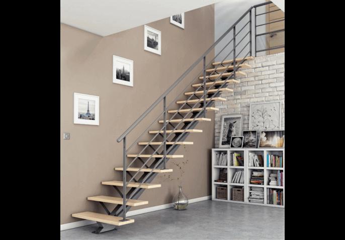 Escalier limon central acier