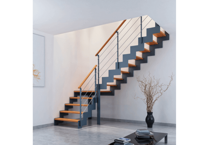 Escalier Moderne A Cremaillere Metal Et Marches Bois