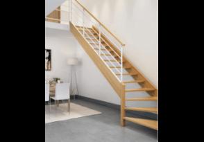 Escalier bois-acier 1/4 tournant