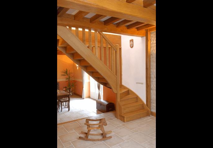 Escalier 1/4 tournant bas en chêne