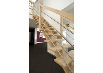 Escalier droit en bois et inox