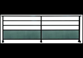 Garde-corps aluminium avec tôle perforée en rond