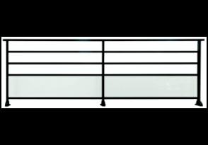 Garde-corps alu vitré à barreaudage horizontal