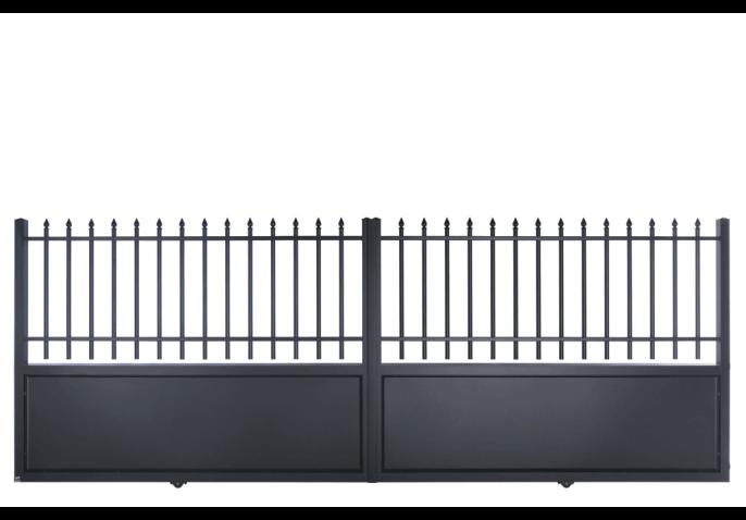 Portail droit semi-ajouré style fer forgé