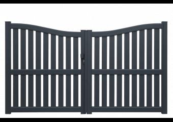 Portail Alu ajouré avec traverse horizontale