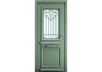 Porte d'entrée alu bois classique vitrée et grille intégrée