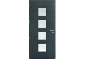 Porte d'entrée mixte avec 4 vitrages carrés sablés