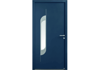 Porte alu moderne avec vitrage et plaque inox