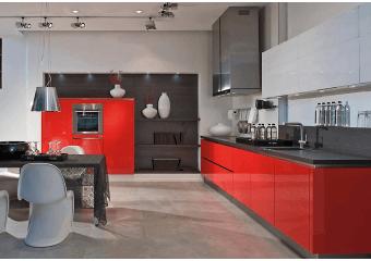 Cuisine sur mesure au design rouge et noir