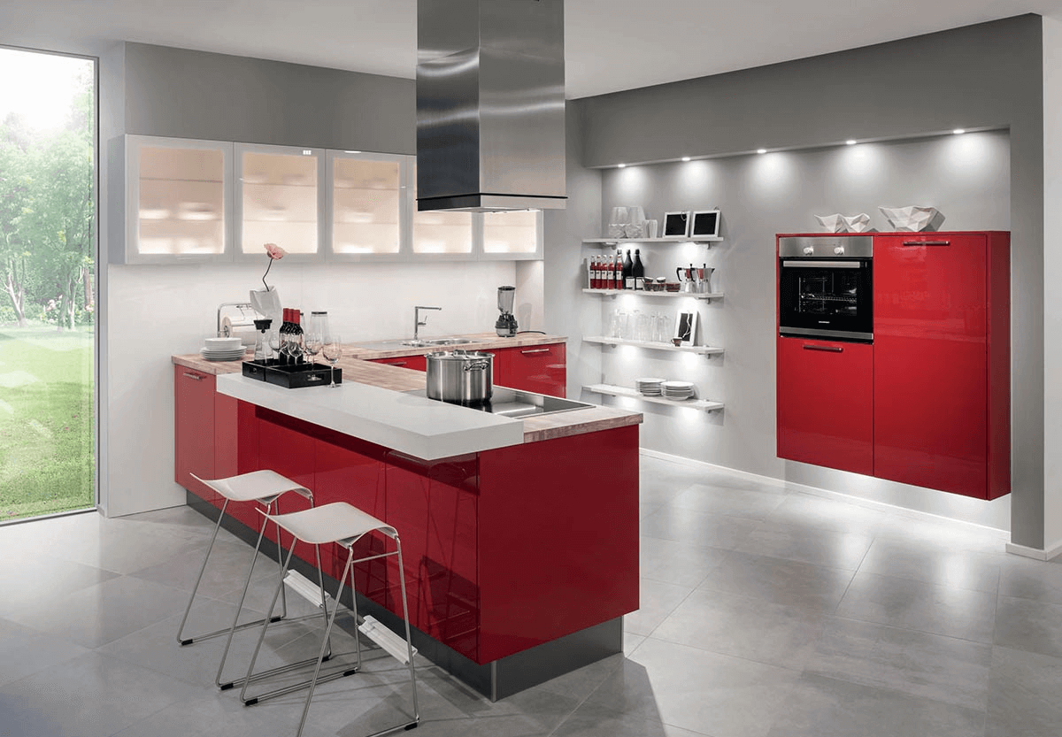 Modeles De Cuisine En Bois Rouge cuisine moderne rouge brillant en u