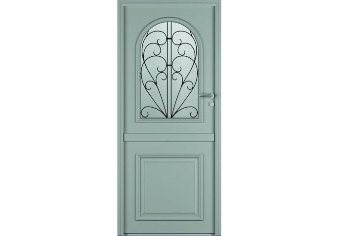 Porte d'entrée fermière alu bois classique mi vitrée
