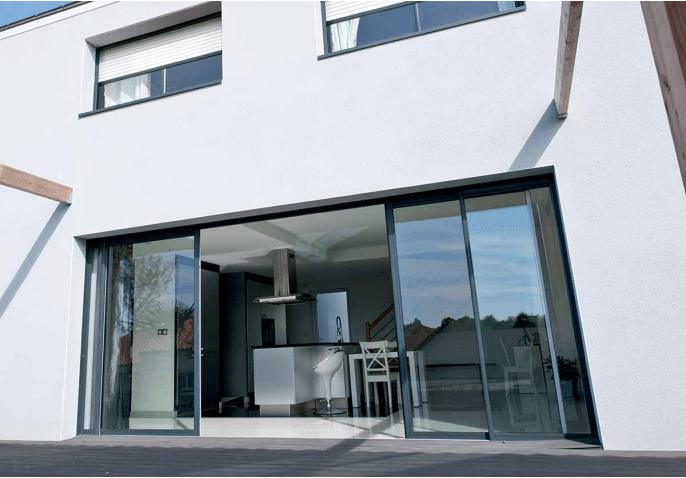 Baie vitrée aluminium à galandage