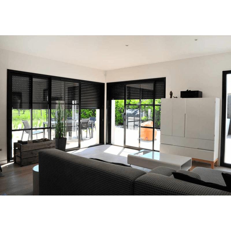 baie vitrée coulissante aluminium avec volet roulant intégré